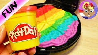 Wafelijzer vs. Play-Doh klei experiment Coole regenboogwafel zelf maken