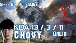 GRF Chovy GALIO vs NAUTILUS Mid - Patch 8.18 KR Ranked