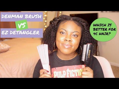 Ez Detangler Brush Vs Denman Brush 4c Hair Battle Of The Brushes Youtube