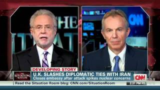 Islamic republic attack on british embassy /Tony Blair: Iran behavior is