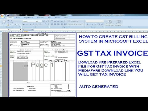 How to create GST Tax Invoice in Excel New GST Invoice Format Excel GST  Bill Format