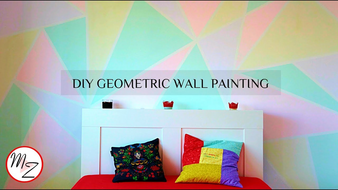 Diy Geometric Wall Painting Designs Using Scotch Tape Easy Room Makeover Maison Zizou
