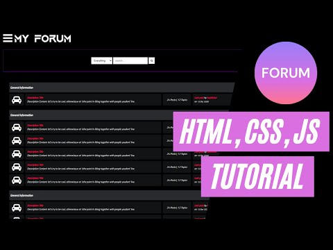 How To Create A Discussion Forum Website With HTML, CSS, And JavaScript (Frontend Tutorial 2021)
