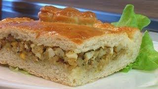 Пирог печеный из дрожжевого теста с начинкой из рыбы. Книга о вкусной и здоровой пище
