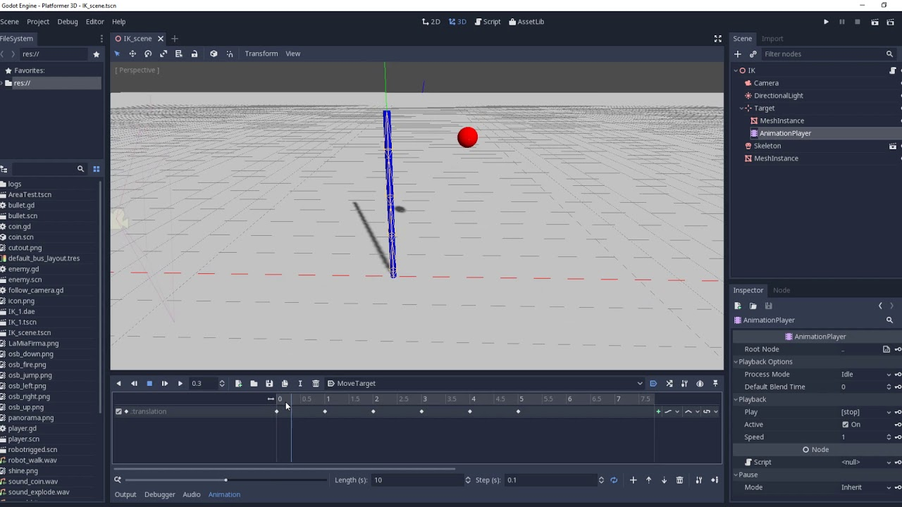 First look of new inverse kinematic solver in godot - Inverse kinematic #1