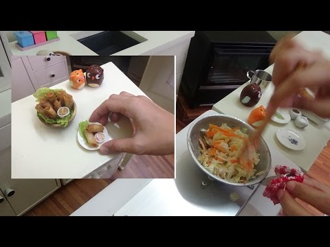 Miniature Food: Lumpiang Toge/Spring rolls bean sprouts w/ tofu (mini food) (kids toys channel)