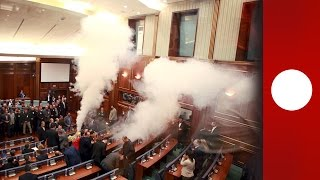 Kosovo parliament scuffles: opposition use tear gas & pepper spray