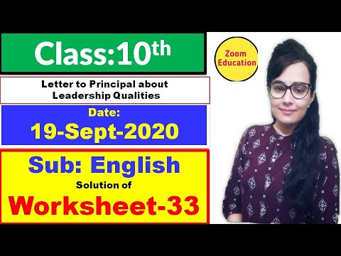 Doe Worksheet 33 class 10 English : 19 sept 2020