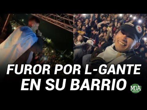 MULTITUDINARIA CARAVANA y FUROR por L-GANTE en su regreso al BARRIO *Hizo un show para la gente*