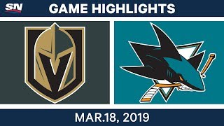 NHL Game Highlights | Golden Knights vs. Sharks - March 18, 2019