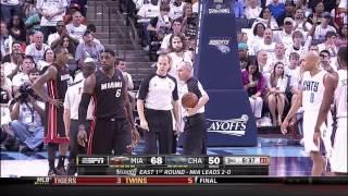 Repeat youtube video Josh McRoberts fouls LeBron James: Game 3, Heat at Bobcats