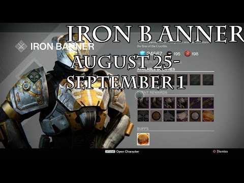 Iron Banner- Lord Saladin Inventory for August 25 - September 1 for all Classes! Week #51