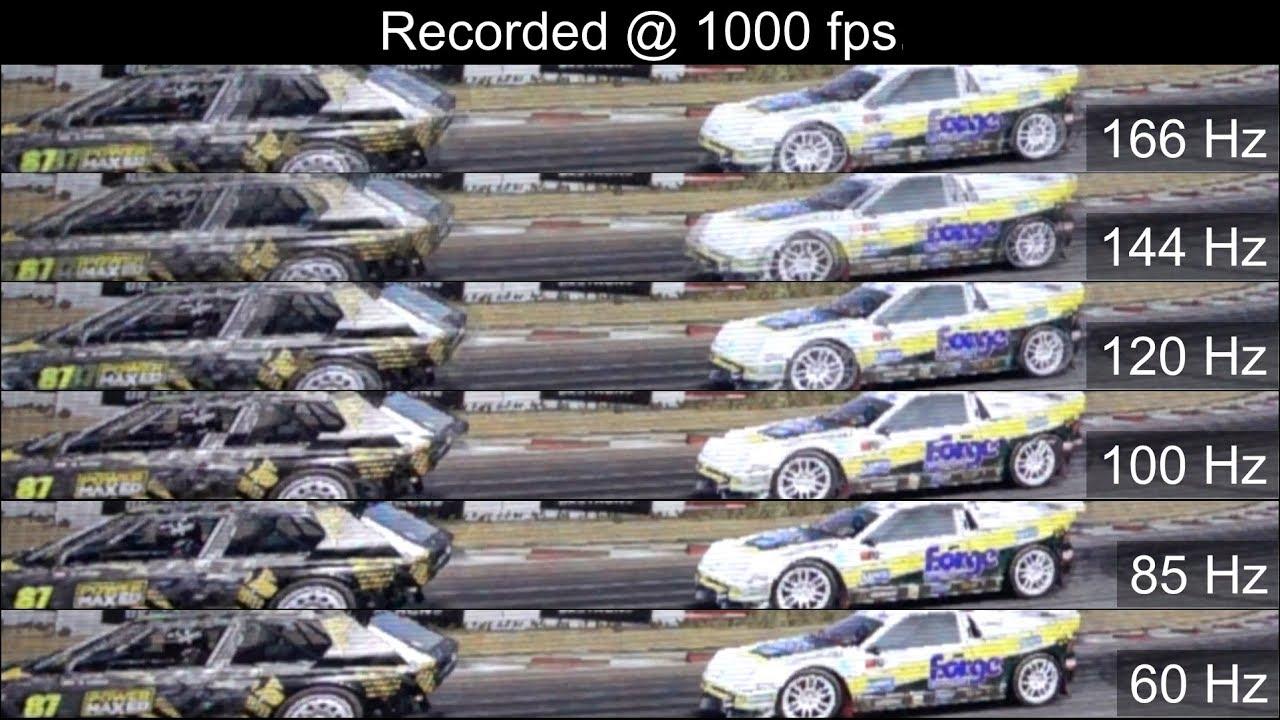 [Slow motion] 166Hz vs 144Hz vs 120Hz vs 100Hz vs 85Hz vs 60Hz - Monitor  refresh rates