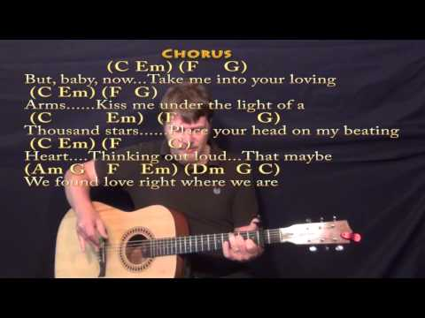 Thinking Out Loud (Ed Sheeran) Strum Guitar Cover Lesson with Chords/Lyrics