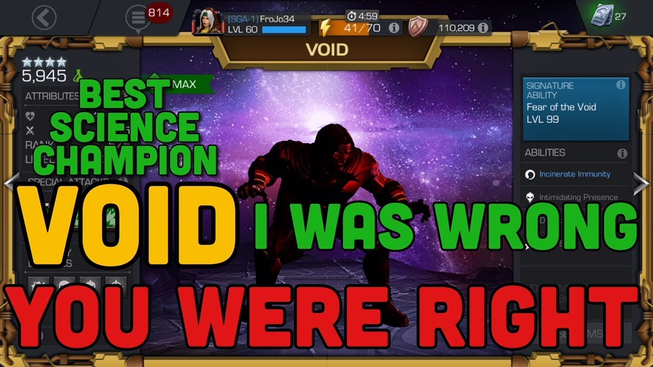 Mcoc Best Science Champs 2020 Void, I was Wrong & You were RIGHT | Best Science Champion