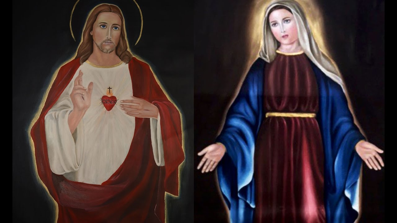 My Oil Paintings On Jesus Christ And Mary On Canvas Youtube