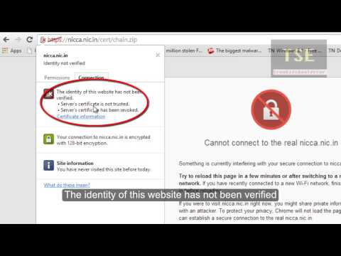 "SSL Error ""Cannot connect to the real website nicca.nic.in"" Chrome - Error Type: Key Revocation"