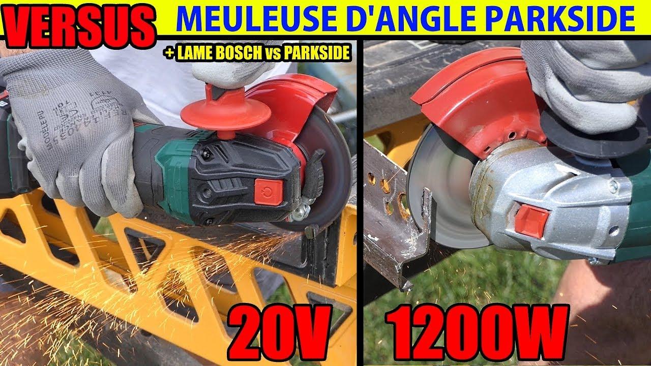 Parkside meuleuse d 39 angle 20v versus 1200w test acier for Smerigliatrice angolare parkside
