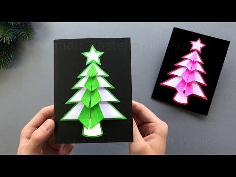 Basteln für Weihnachten: Weihnachtskarten mit Papier als Weihnachtsgeschenke selber machen 🎄