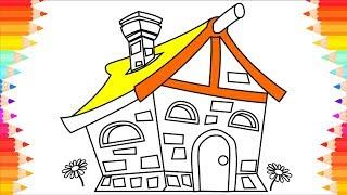 How to Draw House fo Kids Village🏡 House Coloring Page. Step by Step Art Drawings for Children
