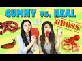 Gummy food Vs Real Food GROSS EDITION Brain Octopus Tongue Snail Worms Worlds Largest Gummy Snake