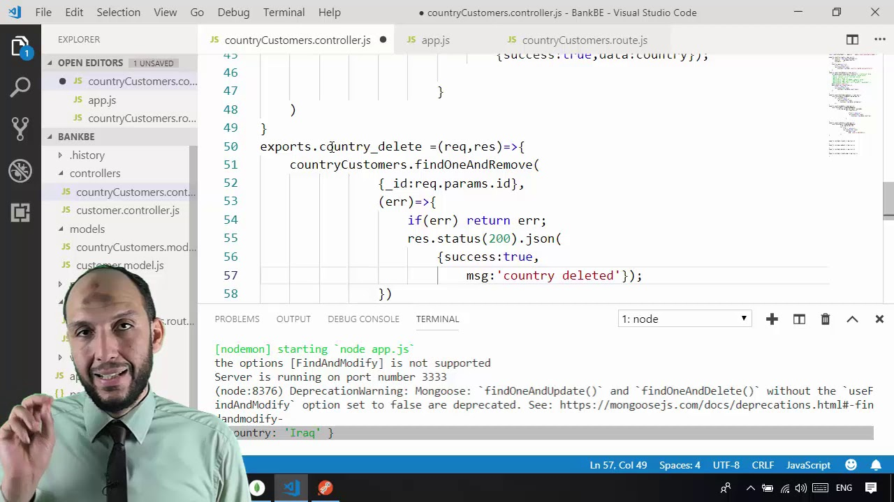 26 Nodejs MVC Knockout Project BackEnd countryCustomers controller delete  country function