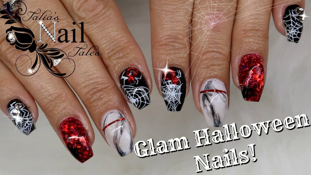 Glam Halloween Nails! | Gel Nail Tutorial - YouTube