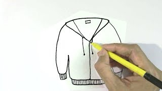 How to draw jacket or sweater  in  easy steps for children, kids, beginners
