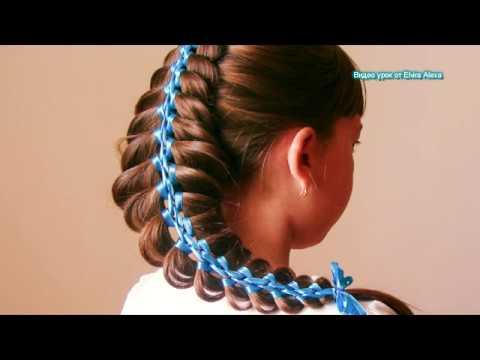 Коса из трёх прядей с узкими лентами Очень просто Hair tutorial Trenza con cintas