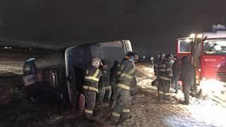 В Тульской области перевернулся автобус с 45 пассажирами