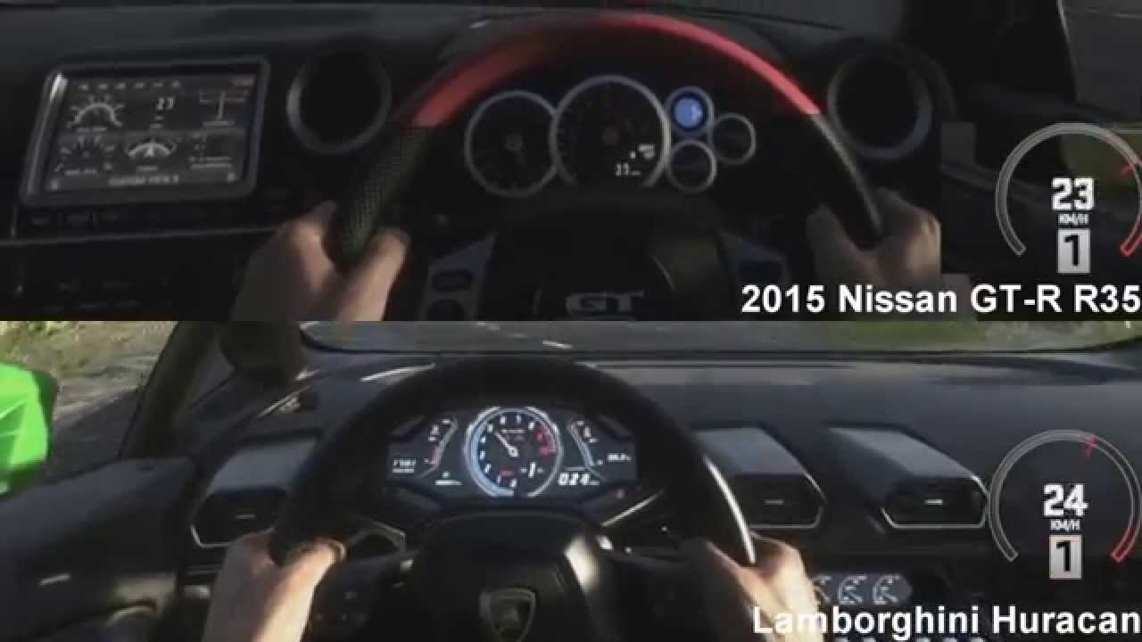 2015 nissan gt r r35 vs lamborghini huracan drag race driveclub youtube. Black Bedroom Furniture Sets. Home Design Ideas