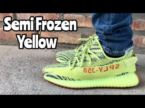 "adidas Yeezy 350 BOOST V2 ""Semi Frozen Yellow"" on feet"