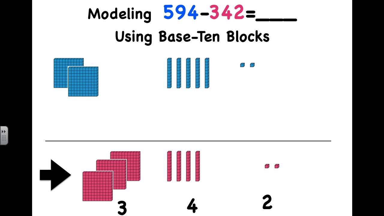 Subtracting 3-Digit Numbers Using Base Ten Blocks - YouTube