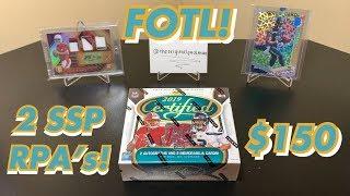 2019 Panini Certified Football FOTL Premium Edition Hobby Box Break - 2 SSP RPAs