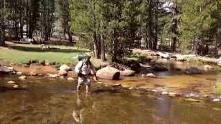 Josh Crossing The Creek In Crabtree Meadow