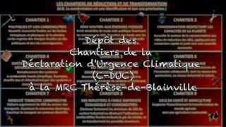 Dépôt des Chantiers de la Déclaration d'Urgence Climatique (C-DUC) à la MRC Thérèse-de-Blainville