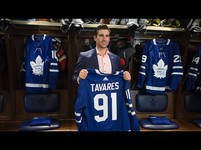 John Tavares says memories of cheering for the Maple Leafs as a kid returned to him as he signed a contract with Toronto worth $77 million (U.S.) over seven years. Tavares says he thinks the Leafs have a big chance to win the Stanley Cup. (The Canadian Press)