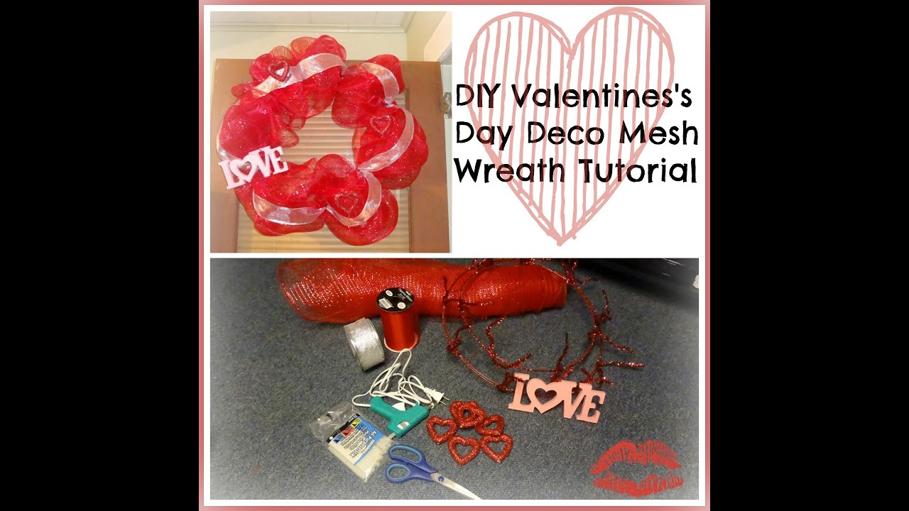 Diy Valentine S Day Deco Mesh Wreath Tutorial Youtube