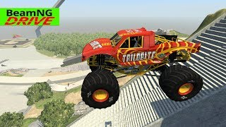 High Speed Jumps | Crashes #51 - BeamNG Monster Truck, Police car, Ambulance, Fire Truck