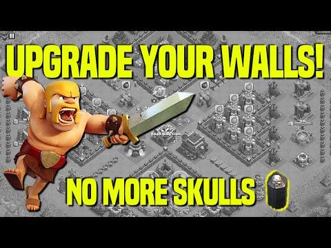 Clash Of Clans | Upgrade Your Walls | No More Skulls | All Level 9 Walls