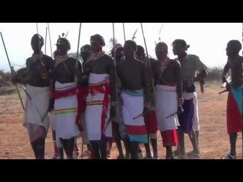 Samburu dancing at Sukuroi, Samburu, Northern Kenya
