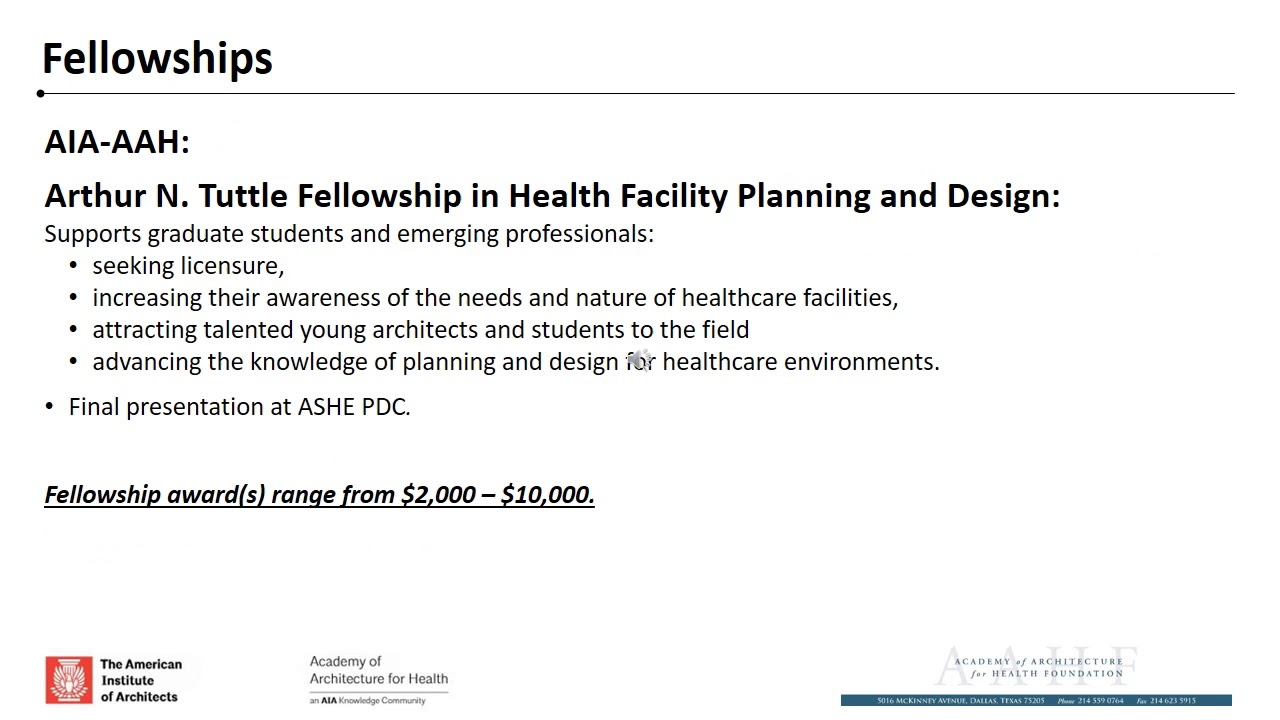 Academy of Architecture for Health AAHF | Apply for a Grant