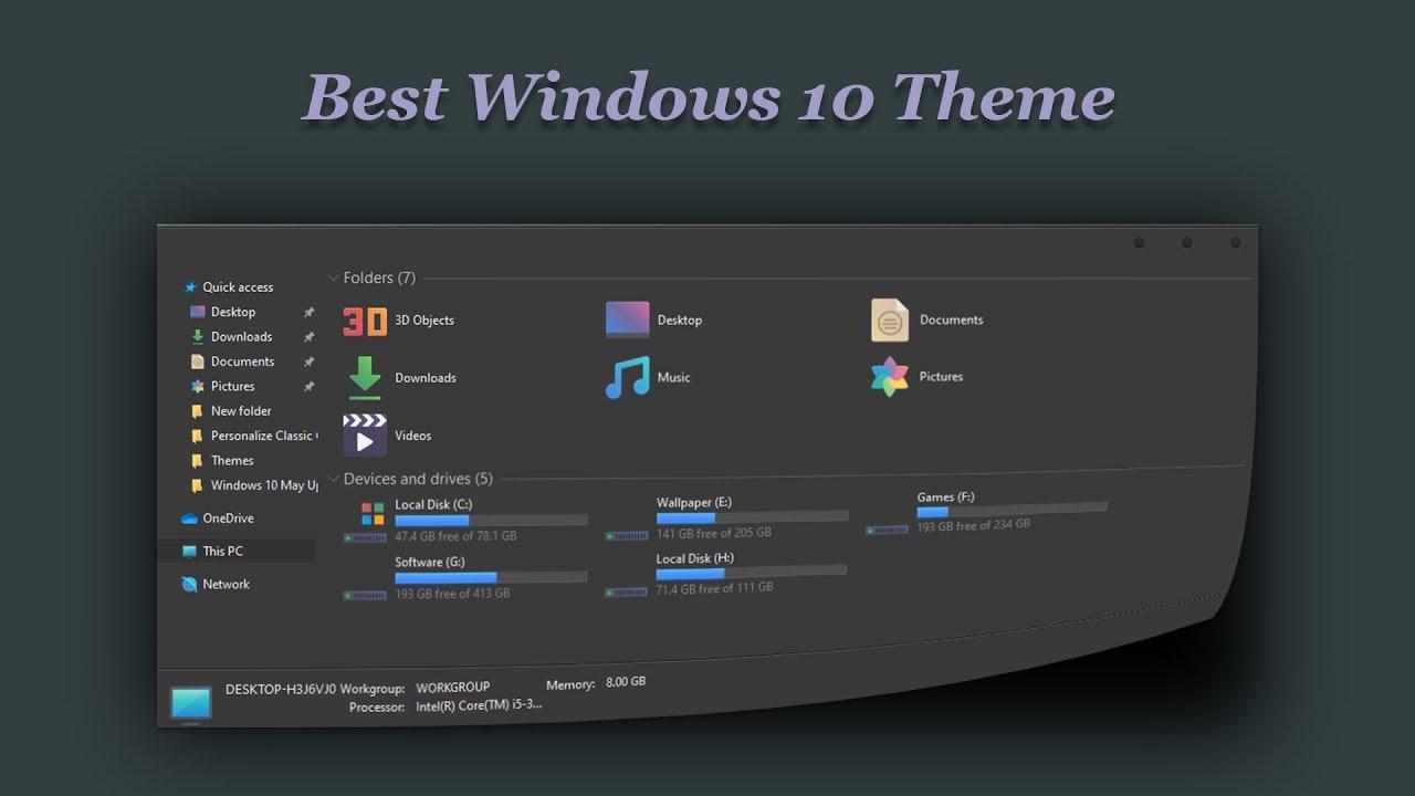 Best Windows 10 Theme Dark Glass Youtube
