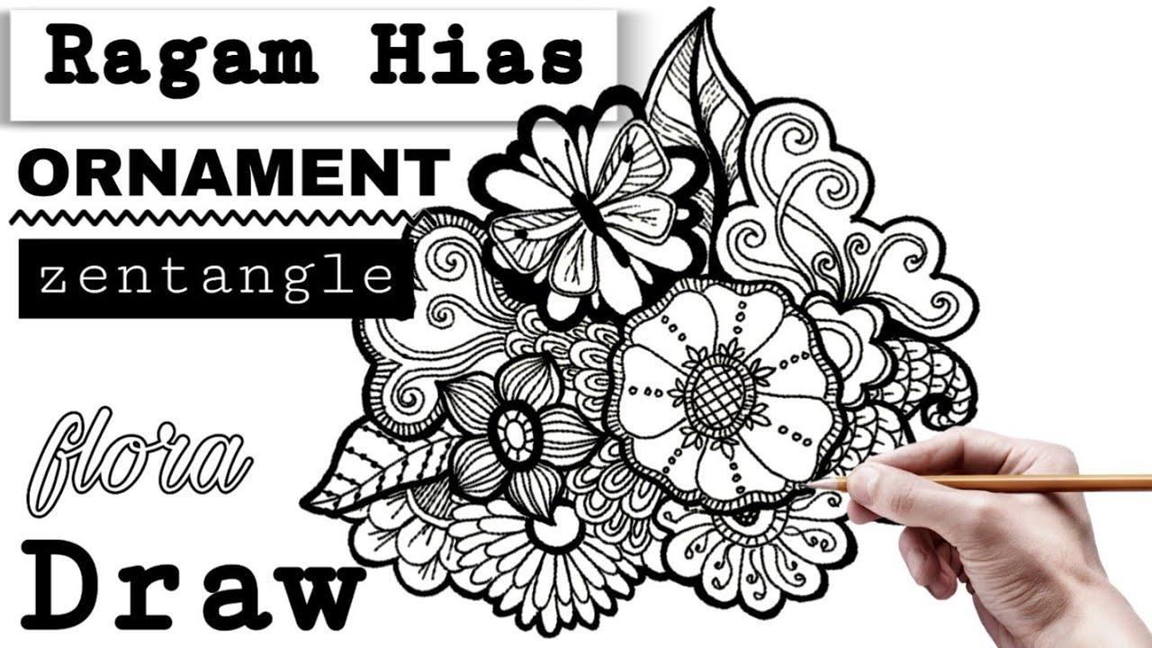 Menggambar Ragam Hias Flora Doodle Zenrangle Design Batik