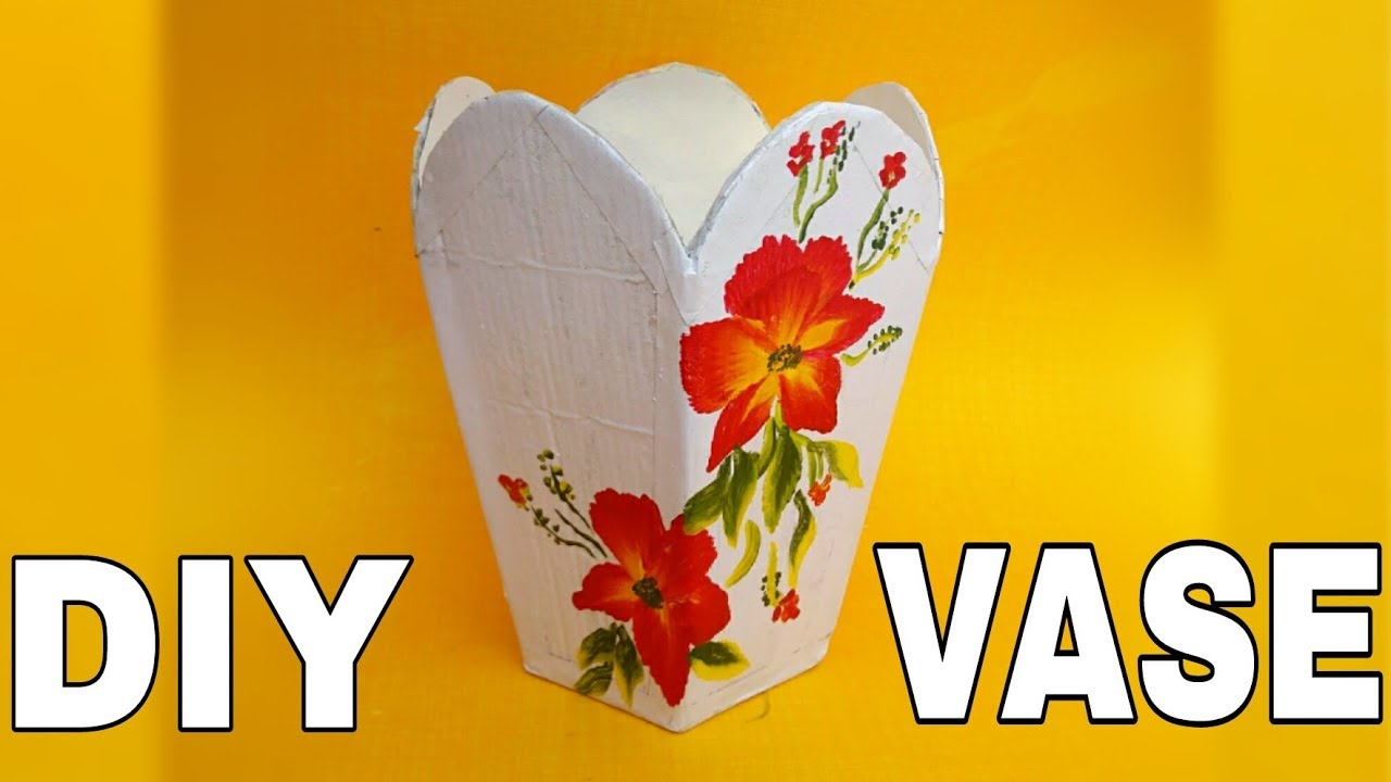 DIY Vase from Cardboard || Flower Pot || Craft out of waste || The Blue Sea Art