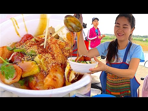Laos Street food - The Bow of Loas | Meatballs,Chicken balls,Sausage,Crab Stick with Nice Loas Girl