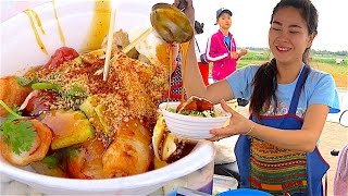 Laos Street food - The Bow of Laos | Meatballs,Chicken balls,Sausage,Crab Stick & Nice Laos Girl