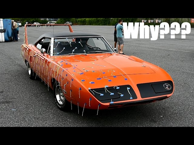 Why is this ORIGINAL Plymouth Superbird covered in streamers? +Le Mans winner Bugatti,917&Cobra!