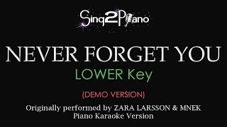 Never Forget You (Lower Key - Piano karaoke demo) Zara Larsson & MNEK