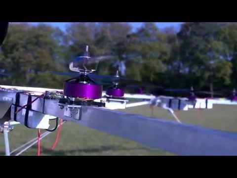 Первый в мире летающий мультикоптер  Полет на мультикоптере